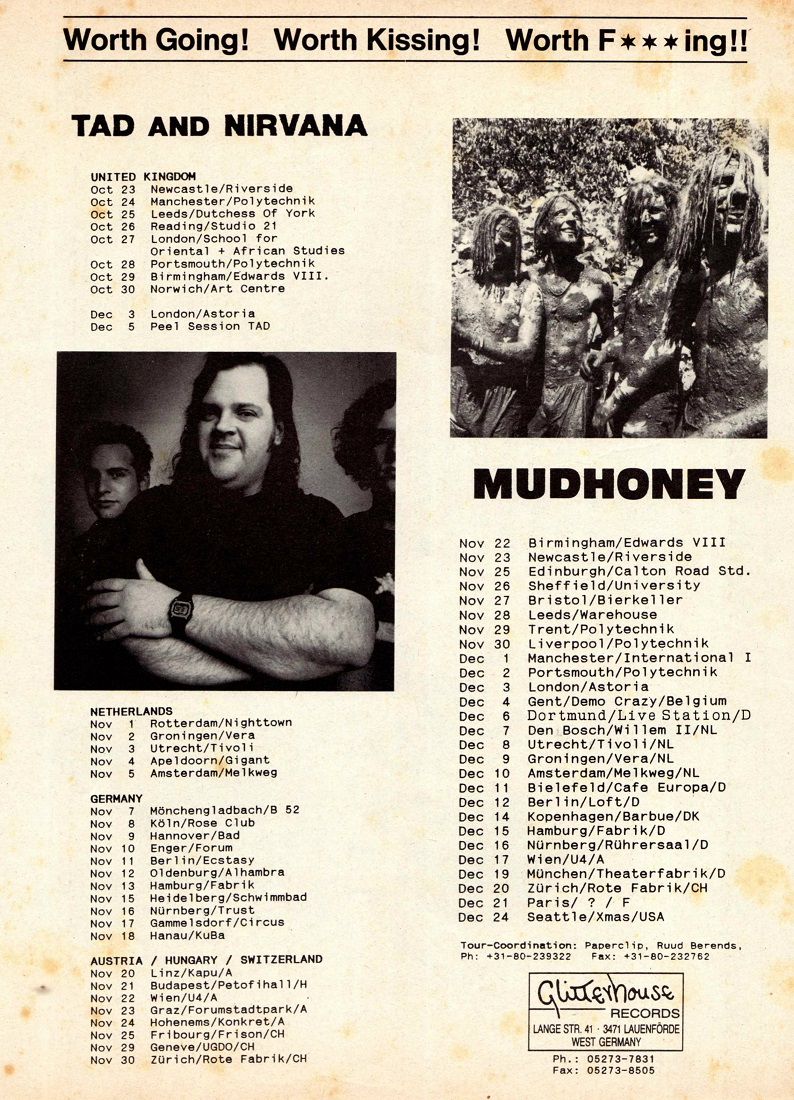 Nirvana's tour itinerary