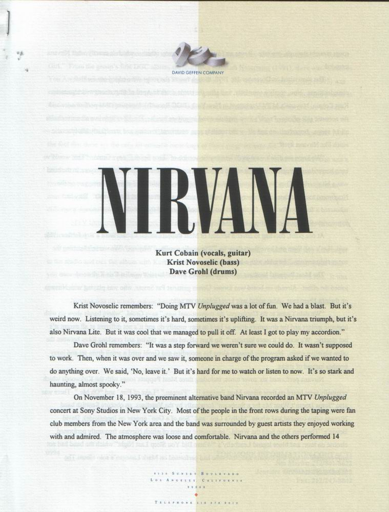 Live nirvana important documents press releases for Album press release template